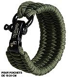 The Friendly Swede Bracelet de Survie Trilobite en Paracorde avec Maillon d'attache Noir en Acier...