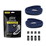 Xpand No Tie Shoelaces System with Reflective Elastic Laces - Navy Blue - One Size Fits All Adult and Kids Shoes
