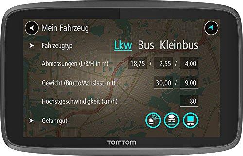 TomTom GO Professional 6250 Navigationsgerät (für LKW, Reisebusse und Transporter, 15-cm-Display, Höhen- und Gewichtsbeschränkungen, Echtzeit-Verkehrsinformationen und Lebenslang Traffic, 6 Zoll)
