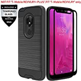 IDEA LINE T-Mobile REVVLRY Case with Tempered Glass Screen Protector, Hybrid Hard Shockproof Slim Fit Brushed Shockproof Protector Cover Heavy Duty Protective - Black