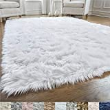 Gorilla Grip Original Premium Faux Fur Area Rug, 3 FT x 5 FT, Softest, Luxurious Carpet Rugs for Bedroom, Living Room, Luxury Bed Side Plush Carpets, Rectangle, Pure White