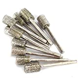 12Pcs 8mm Head Cylindrical Diamond Coated Mounted Wheel Points Grinding Rotary Bit grit 46# with 3mm Shank for Rotary Tool