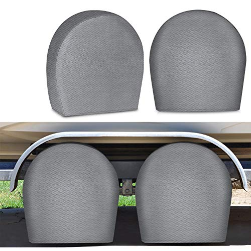 """RVMasking RV Tire Covers Set of 4 for Trave Trailer Camper - Upgraded 5-ply Tire Wheel Protectors Fits Tire Diameters 26.75"""" - 28.9"""""""