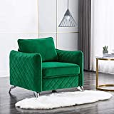 Altrobene Mid Century Velvet Accent Chair, Club Style Living Room Armchair, Silver Metal Legs, Green