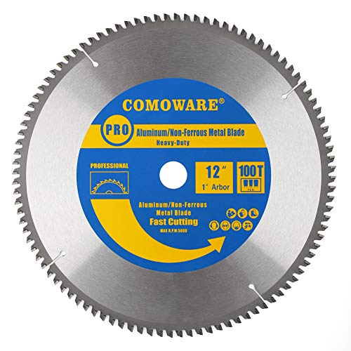 COMOWARE Saw Blade- 12-inch 100 Tooth 1 inch Arbor Heavy Duty for Aluminum and Non Ferrous Metals