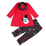 Thanksgiving/Christmas Outfit Toddler Baby Girl Long Sleeve Snowman/Turkey T-Shirt Dress Snowflakes Pants Fall Winter Clothes Red