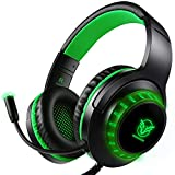 Auriculares Gaming PS4 Estéreo da 3,5 mm Jack con Micrófono Flexible y Luz LED, Cascos Gaming para PC/Xbox One/Nintendo Switch/Laptop/Tablet/Mac/Smartphone