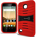 Huawei Union Case, CoverON [Titan Armor Series] Dual Layer Hybrid Cover Kickstand Phone Case for Huawei Union - Red & Black