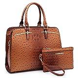 Dasein Women Satchel Handbag Shoulder Purse Top Handle Work Bag Tote Bag With Matching Wallet (Brown...