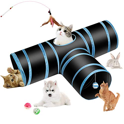 Hyselene Túnel para Gatos, 3 Vías Gato Túnels Juguete del Gato...