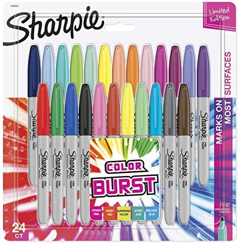 SHARPIE Color Burst Markers, Fine Point, 24 Count