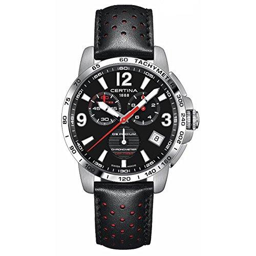 Certina Herren-Armbanduhr DS Podium 42 mm schwarzes Lederband Stahlgehäuse Quarz Analog C034.453.16.057.00
