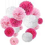 15pcs papier fleur pompon boule à suspendre 6',10',12' rose décor mariage...