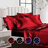 Todd Linens Sexy Satin Sheets 6 Pcs Queen/King Bedding Set 1 Duvet Cover + 1 Fitted Sheet + 4 Pillow Cases (Many Colors) Red Queen