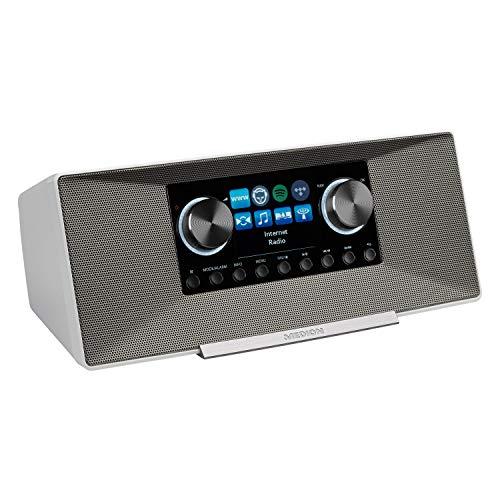 MEDION P85289 Internetradio mit DAB+ (WLAN, UKW, Spotify Connect, Amazon Music, DLNA, USB, Kopfhörer-Anschluss, AUX, LAN, Sleep Timer) White