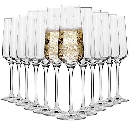 Krosno Bicchieri Calice Flute Champagne Spumante Vetro | Set di 12 | 180 ML | Collezione Avant-Garde | Ideale per Casa Ristorante Feste e Ricevimenti | Adatto alla Lavastoviglie e al Forno a Microonde