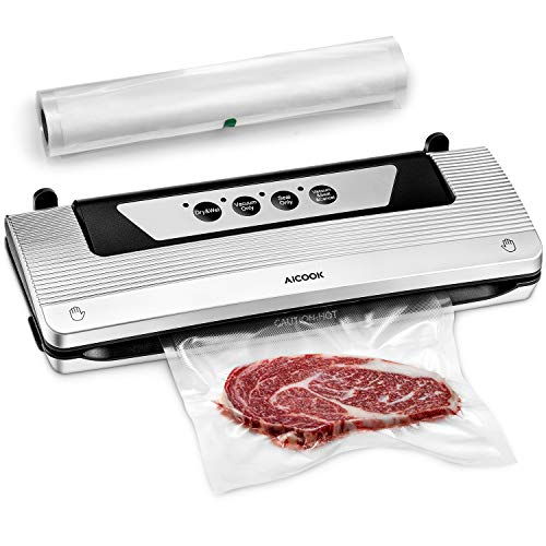 Vacuum Sealer, Aicook 4 in 1 Automatic Vacuum Air Sealing System For Food Preservation, with Starter Kit Rolls, Compact & Easy Clean, Dry & Moist Food Modes