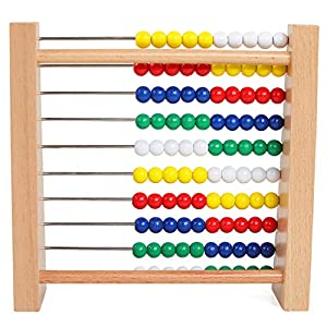 CLASSIC ABACUS LEARNING TOY: The Abacus Classic Wooden Toy is a traditional abacus wooden bead counting frame with 100 brightly colored wooden beads,As a young parents, We konw a math tool is necessary. TOY QUALITY CONSTRUCTION: This counting beads m...