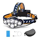 Rechargeable Headlamp, OUTERDO 8 LED Headlamp Flashlight 13000 Lumens...
