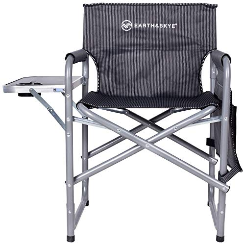 EARTH&SKYE Heavy Duty Directors Chair - Short Folding Director Chair | Director Chairs with Side Table | Durable Steel Frame and Oxford Fabric