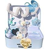 Canastilla bebé recién nacido niño modelo Mi primera maleta azul con corazón personalizado de regalo, espiral de felpa, doudou, chupete y porta chupetes y conjunto primera puesta.