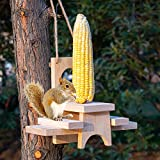 FUNPENY Wooden Squirrel Feeder for Outside, Hanging Picnic Table Feeders with Corn Holder for...