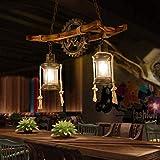 Wood Retro Pendant Lighting Industrial Vintage Chandelier Black Metal Bedroom Restaurant Suspension Lamp Cage Frame with Glass Shade House Loft Bar Coffee Decoration Ceiling Lights Fitting, E2