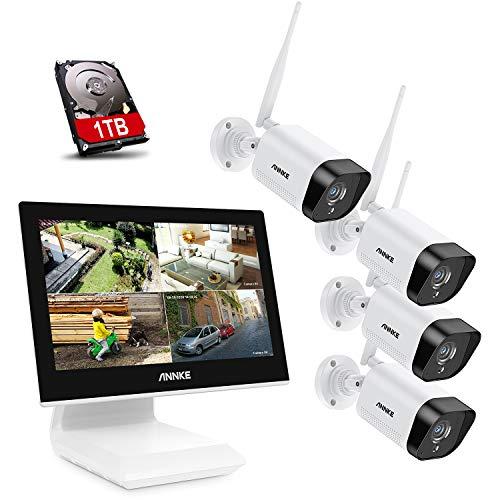 ANNKE WE400 4CH Kit di Sorveglianza Videosorveglianza Wifi con Monitor LCD da 10,1'' Sistema di Videosorveglianza 1080P Plug e Play Salvaschermo Automatico Visione Notturna Accesso Remoto 1TB HDD