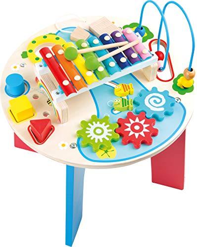 10321 Tavolo musicale e motorio '2 in 1' small foot in legno, con anello motore, gioco con formine,...