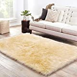 LOCHAS Soft Faux Sheepskin Fluffy Rugs for Bedroom Kids Room, High Pile Faux Fur Area Rug Bedside Floor Carpet Photography, 3x5 Feet Rectangular Ivory Yellow