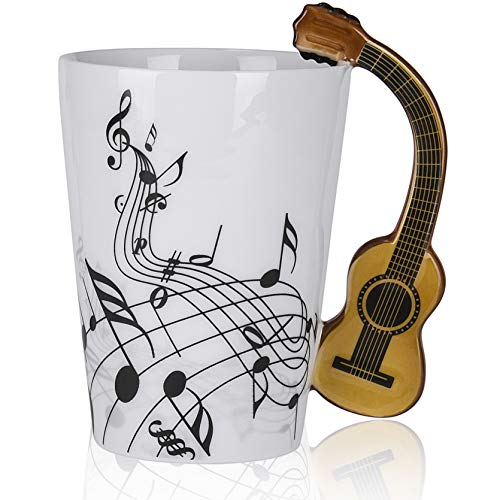 Novelty Guitar Ceramic Cup Personality Music Note Mug Coffee Tea Cup Water Bottle Unique Gift Home Cafe