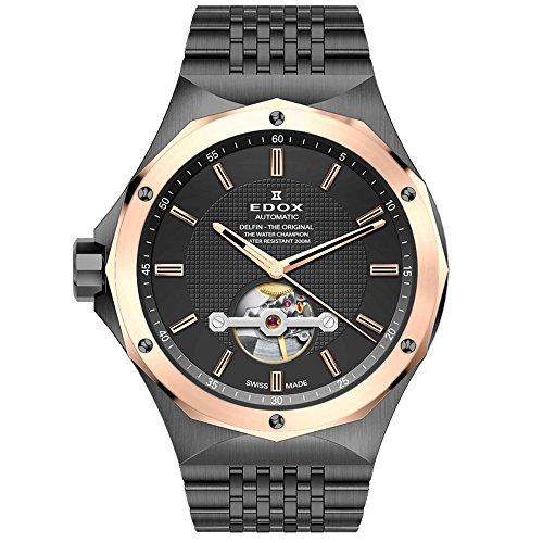 Edox Delfin The Original Herren-Armbanduhr 43mm Armband Edelstahl Grau + Gehäuse Automatik 85024 37GRM Gir