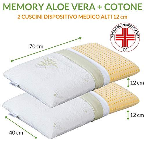 EVERGREENWEB Coppia Cuscini Letto 40x70 Alti 12 cm Modello Saponetta Cervicale 100% Memory Foam,...
