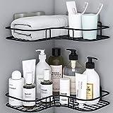 Organiseur de douche - Lot de 2 étagères d'angle de salle de bain avec autocollant...