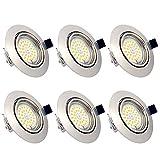 Spots LED Encastrables Orientables Dimmables, ampoules 6 x 6W incluses, GU10, Blanc Chaud 3000K,...