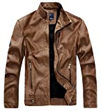chouyatou Men's Vintage Stand Collar Pu Leather Jacket (XX-Large, RZQM888-Brown)