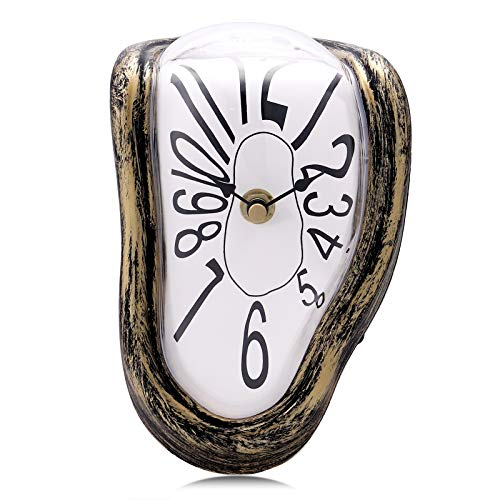 Lafocuse Silent Creative Surrealism Melting Clock with Arabic Numerals Inspired by Salvador Dali's Persistence of Memory Shelf Desk Table Clocks