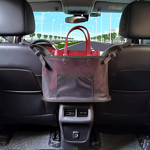 51rItbJzZXL ▶ Extra Storage Between Seats: Fits most sizes of handbag. The car net pocket handbag holder provides extra storage space for your items like handbag, purse, tablet, magazine ect.. Size: 15.7*5.9*10 inch. ▶ Help as Barrier: This car net pocket is adopted durable mesh. It is can also a special barrier that prevents naughty kids or pets in the back seat disturbing your daily drives. ▶ Compatibility: It is a universal car handbag holder that can be used to most vehicles with headrest pole and consoles. Attention, some car consoles don't fit for this kind of car storage, such as Side Open Armrest Box, No Armrest Box, Double Open Armrest Box, Sports Armrest Box.Please check your car consoles before buying this product.