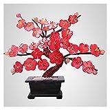 xinxinchaoshi Planta Artificial para bonsi Red Blossom Artificial Bonsai Tree Plantas Artificiales Bonsai Jade Talla Plum Flor Faux Potted Plant Exquisite Bonsai Artesanas Bonsi Decorativo