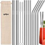 Grilljoy 13PC Pailles Réutilisables en Inox avec 2 Brosses de Nettoyage et Sac de Rangement,...