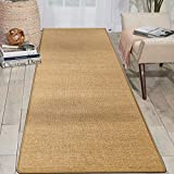 uyoyous Sisal Runner Rug 2'6' x 10' Natural Fiber Collection Area Rug Indoor/ Outdoor Non-Slip Sisal Rugs Pattern Weave for Hallway Entrance Kitchen Deep Brown
