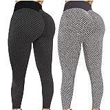 Pack 2 Push Up Leggings para Mujer, Cintura Alta Mujer Malla Celular Pantalón de Yoga Leggings, Butt Lifter Anti-Cellulite Deportivos Yogapants para Yoga Pilates Fitness (L, XS)
