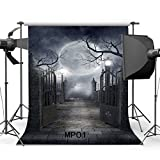 Hasdrop 5X7FT Halloween Backdrop Hallowmas Horror Night Shining  Moon Night Gothic Road Lamp Metal Gate Brick Floor Scary Vinyl Photography Background Kids Adults Masquerade Photo  Studio Props MP01