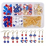 SUNNYCLUE 1 Box DIY 12 Pairs USA American Flag Patriotic Red Blue Dangle Drop Earrings Making Kit...
