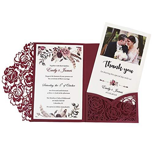DORISHOME 4.7x7 Inch 50PCS Blank Burgundy Wedding Invitations Kits Laser Cut Hollow Rose Pocket Wedding Invitations with Envelopes For Wedding Bridal Shower Engagement Invite