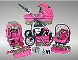 Chilly Kids Dino poussette combinée Set – été (parasol, siège auto & adaptateurs, habillage pluie, moustiquaire, roues pivotantes, porte-gobelets) 17 rose & léopard