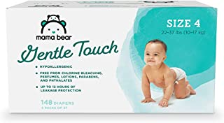 Amazon Brand – Mama Bear Gentle Touch Diapers, Hypoallergenic, Size 4, 148 Count (4..