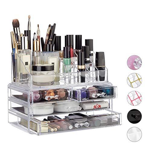 Relaxdays 10023130_50 Organizzatore Make-Up con 4 Cassetti, Trucchi, Porta Rossetti, Acrilico, 13.5...
