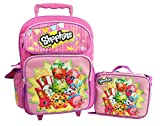 Shopkins 16' GIRLS KIDS LARGE ROLLING BACKPACK Plus LUNCH BAG