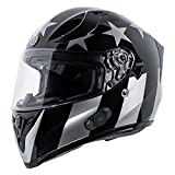 TORC T15B Bluetooth Integrated Full Face Motorcycle Helmet With Graphic (Gloss Black Captain Shadow,Large)